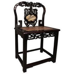 Antique Chinese Hardwood Alter Chair with Marble and Mother-of-Pearl, c1900