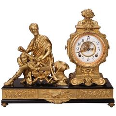 Antique Ansonia Bronzed White Metal Figural Mantel Clock, circa 1880
