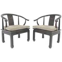 Pair of Ming Style Mid-Century Armchairs, circa 1980s