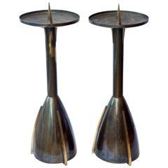Large Art Deco Brass Candle Sticks