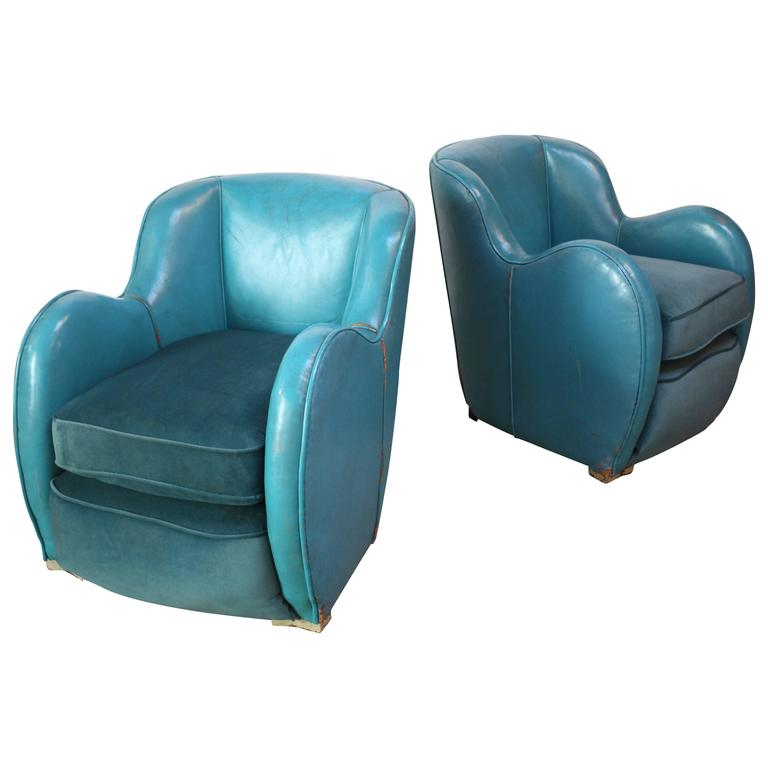 Scandinavian Deco Club Chairs in Blue Leather and Velvet 1