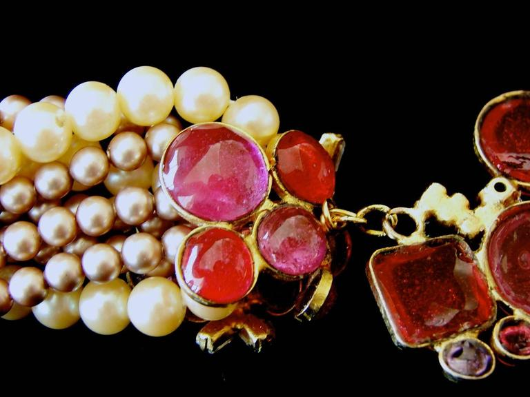 Goossens for Chanel Multi-strand Pearl & Pâte de verre Camellia Necklace 1970s  9