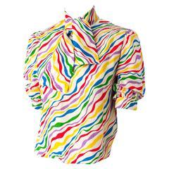 70s Nina Ricci Rainbow Wave Star Blouse