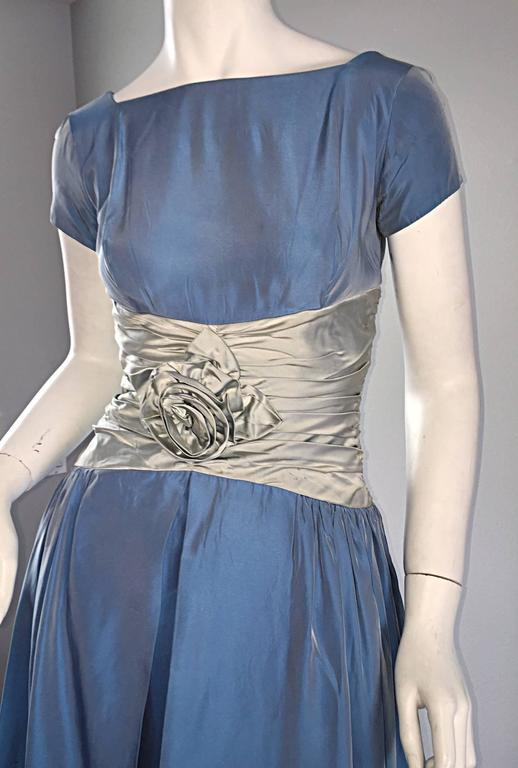 "Beautiful 1950s 50s Blue + Silver Silk Taffeta "" Cinderella "" Cocktail Dress 5"