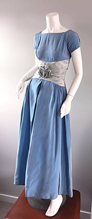 "Beautiful 1950s 50s Blue + Silver Silk Taffeta "" Cinderella "" Cocktail Dress 4"