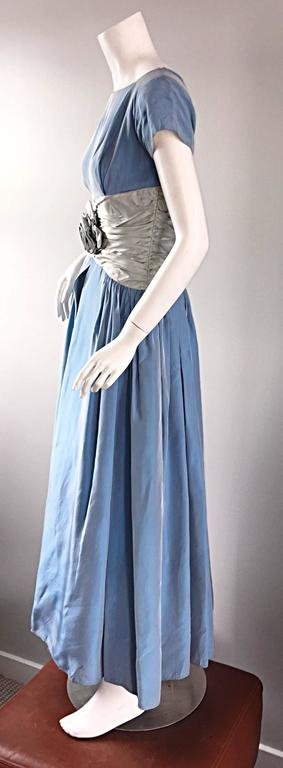 "Beautiful 1950s 50s Blue + Silver Silk Taffeta "" Cinderella "" Cocktail Dress 3"