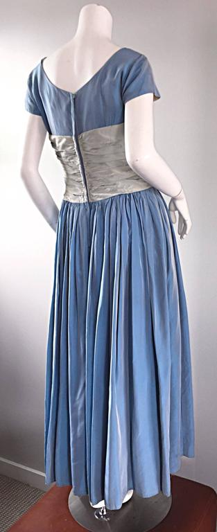 "Beautiful 1950s 50s Blue + Silver Silk Taffeta "" Cinderella "" Cocktail Dress 2"