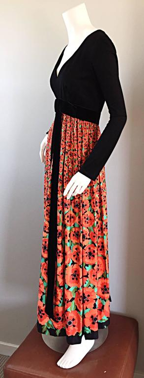 Black Vintage Joseph Magnin 1970s ' Hibiscus ' Print 70s Boho Maxi Dress w/ Bow For Sale