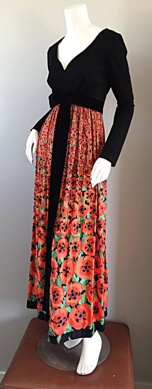 Vintage Joseph Magnin 1970s ' Hibiscus ' Print 70s Boho Maxi Dress w/ Bow For Sale 1