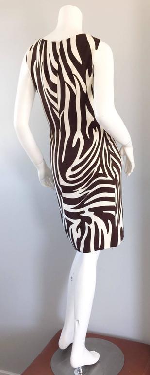 Chic Vintage Bill Blass FW92 Brown + Ivory Silk Zebra Safari Runway Dress 2