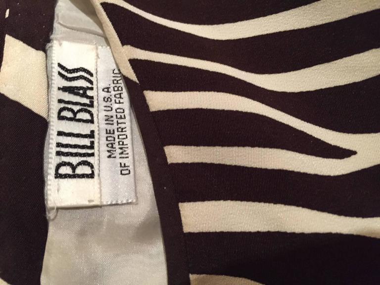 Chic Vintage Bill Blass FW92 Brown + Ivory Silk Zebra Safari Runway Dress 9