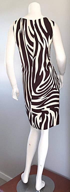 Chic Vintage Bill Blass FW92 Brown + Ivory Silk Zebra Safari Runway Dress 5