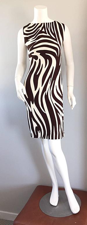 Chic Vintage Bill Blass FW92 Brown + Ivory Silk Zebra Safari Runway Dress 6
