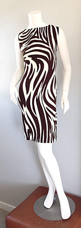 Chic Vintage Bill Blass FW92 Brown + Ivory Silk Zebra Safari Runway Dress 3