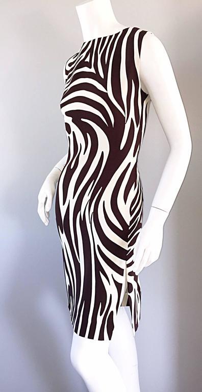 Chic Vintage Bill Blass FW92 Brown + Ivory Silk Zebra Safari Runway Dress 7