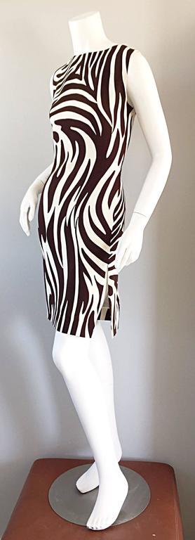 Chic Vintage Bill Blass FW92 Brown + Ivory Silk Zebra Safari Runway Dress 4