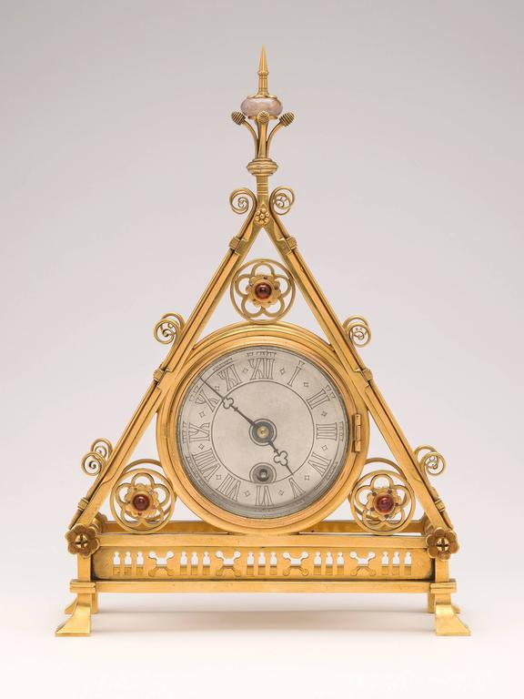 Gilt Brass Clock Designed by Bruce J. Talbert, England, circa 1875 2