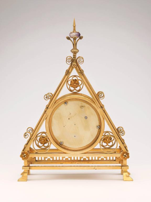 Gilt Brass Clock Designed by Bruce J. Talbert, England, circa 1875 3