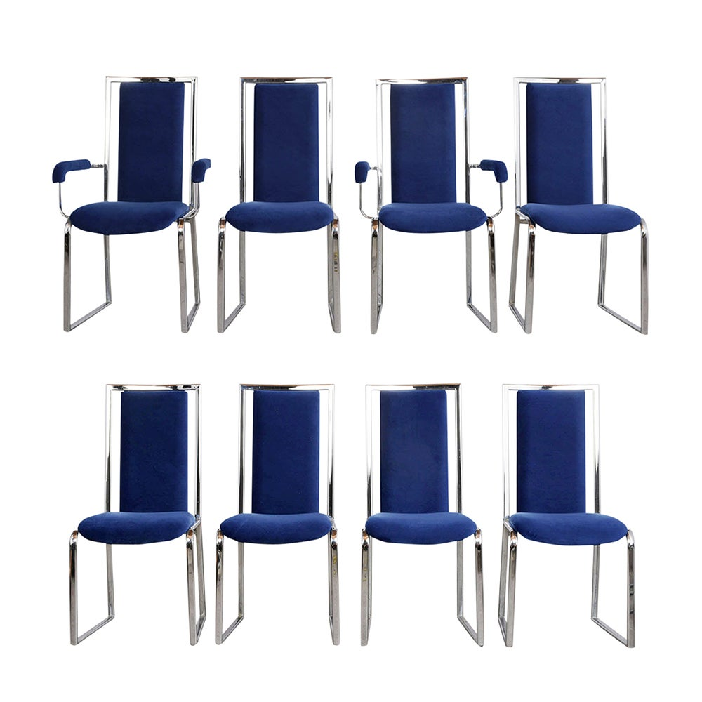Vintage Set of Eight Modern Dining Chairs