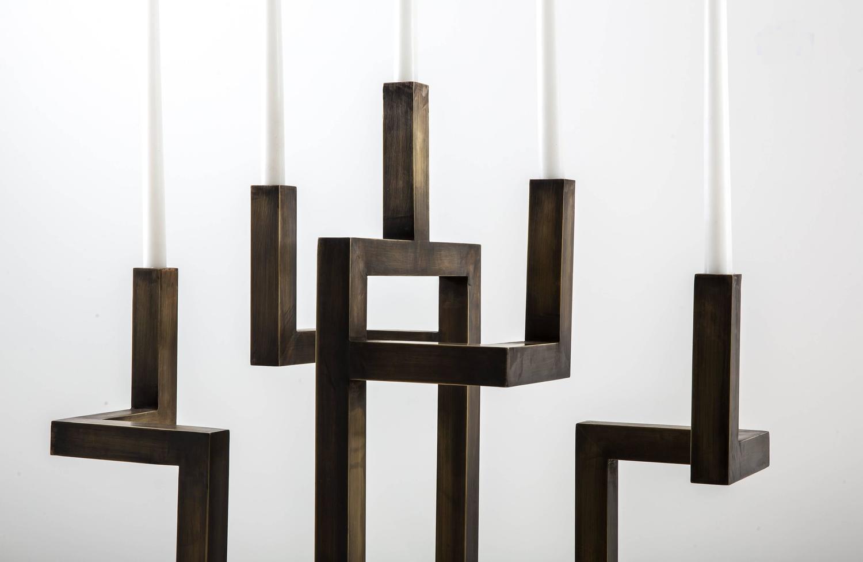 Aztec brass candelabra by francesco della femina for sale for Loft via savona 97