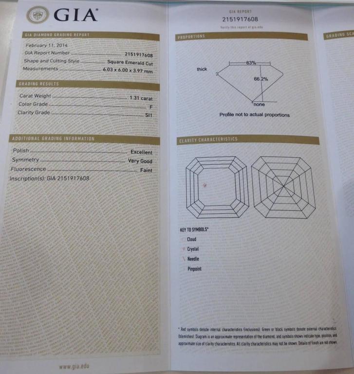 Art Deco GIA Certified 1.31 Carat Asscher Cut Halo Diamond platinum  Engagement Ring For Sale