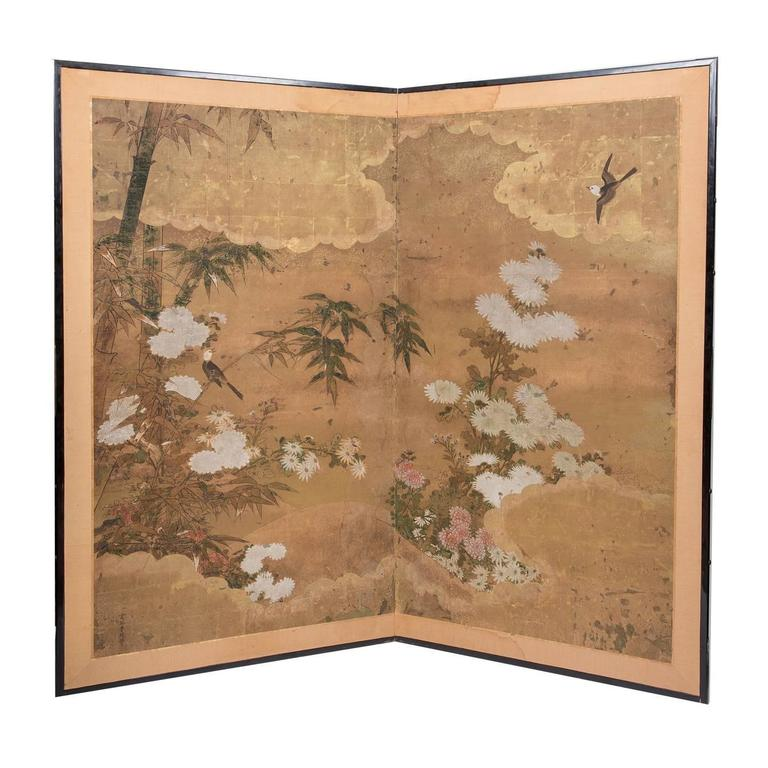 Japanese Two-Panel Floor Screen