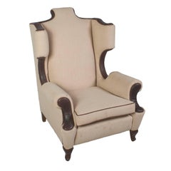 Single Linen and Leather Trim Wing Chair