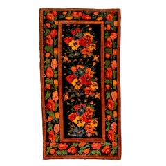 Vintage Caucasian Floral Karabagh Rug in the St. Petersburg Style