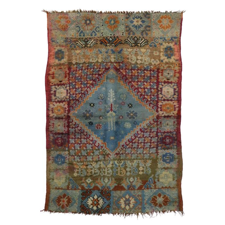 Mid Century Berber Moroccan Rug With Center Medallion At