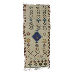 Vintage Moroccan Azilal Rug with Postmodern Memphis Style, Shag Hallway Runner