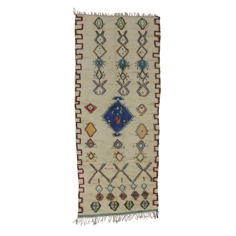 Vintage Moroccan Azilal Rug With Postmodern Memphis Style
