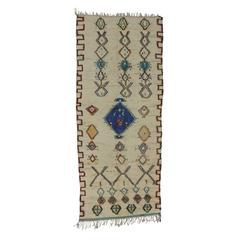 Vintage Berber Moroccan Azilal Runner with Light Colors and Tribal Style