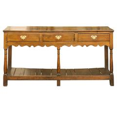 English Late 18th Century Carved Oak Sideboard with Pot Board and Three Drawers