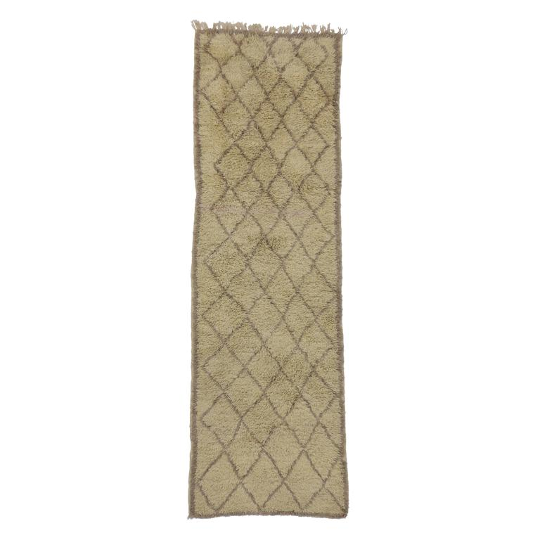 Mid-Century Modern Berber Moroccan Carpet Runner with Minimalist Design