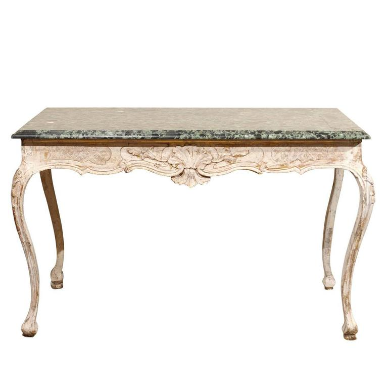 French 18th Century Painted Console in the Regence Style with Marble Top