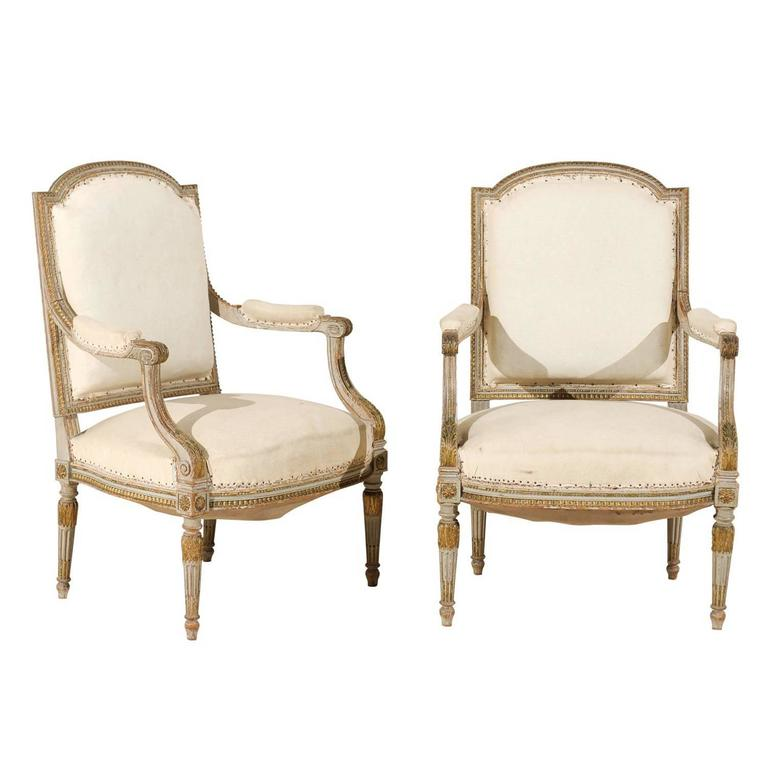 Pair of 19th Century French Louis XVI Style Fauteuils or Armchairs For Sale