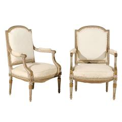 Pair of 19th Century French Louis XVI Style Fauteuils or Armchairs