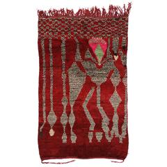 Vintage Berber Moroccan Rug with Abstract Design