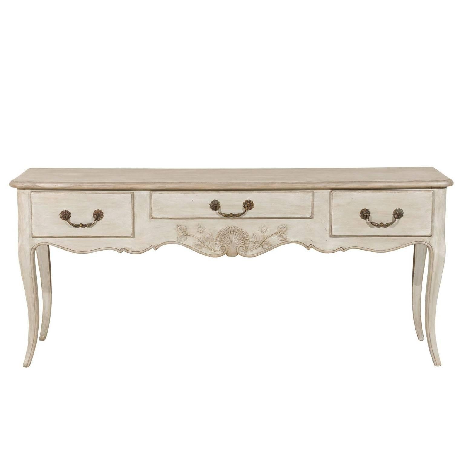 French Painted Three-Drawer Wooden Console Table