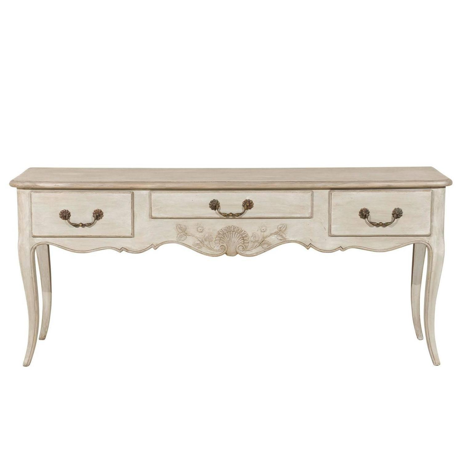 Amazing photo of French Painted Three Drawer Wooden Console Table For Sale at 1stdibs with #4D3C2C color and 1500x1500 pixels
