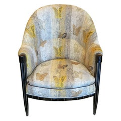 French Art Deco Salon Chair with Butterfly Embroidery