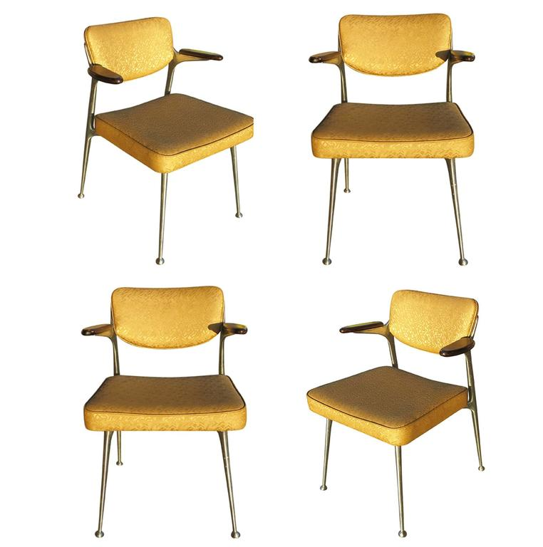 Rare Set of Four Aluminum Gazelle Armchairs by Shelby Williams