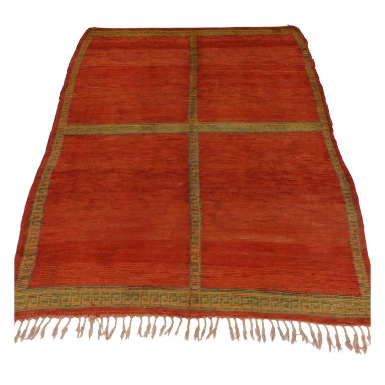 Mid Century Modern Style Red Berber Moroccan Rug With: Berber Moroccan Rug With Greek Meandros Border And Mid