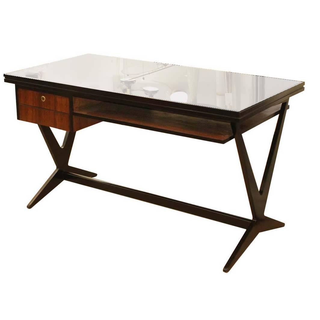 Elegant Desk with Black Glass Top Italy 1950s at 1stdibs