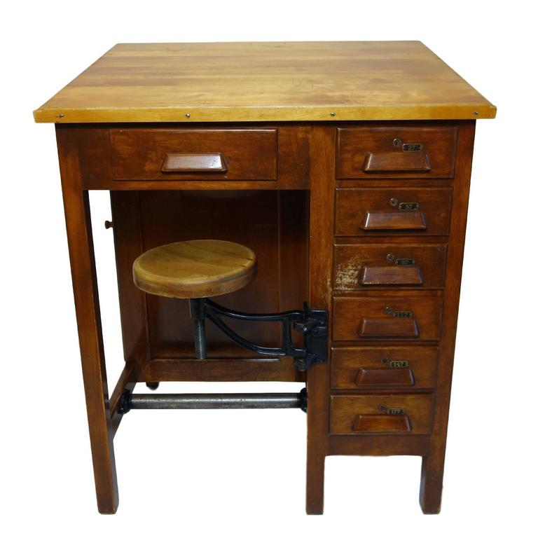 Industrial Drafting Table With Articulating Stool At 1stdibs