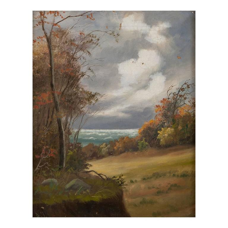 """Scandinavian """"Seascape with Clouds"""", Oil on Canvas, Signed A.J."""