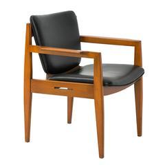 Danish Modern Black Leather Armchair