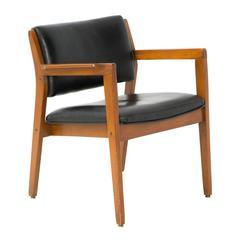 Danish Mid-Century Modern Armchair in Black Leather