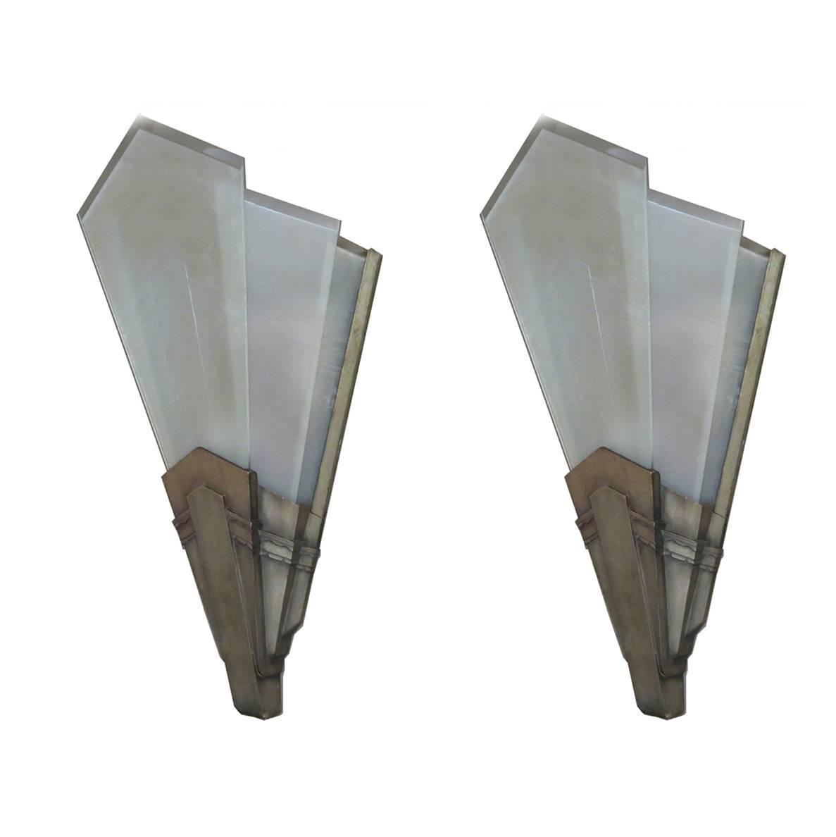 Impressive Silvered Bronze Art Deco Wall Sconces at 1stdibs