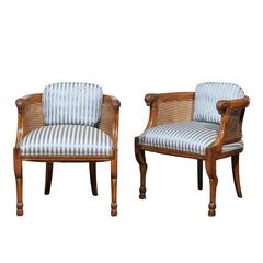 Pair of Regency Style Cane and Walnut Club Chairs by Tomlinson